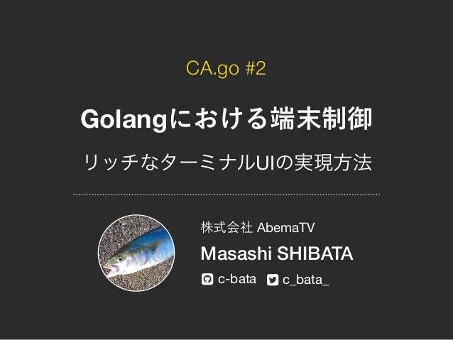 """CA.go #2 Golang UI AbemaTV Masashi SHIBATA c-bata c_bata_! """""""