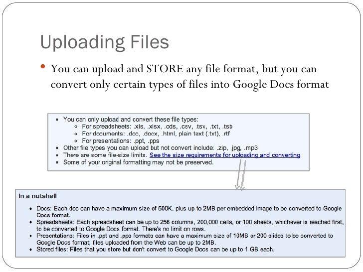 Google Docs: uploading and downloading files
