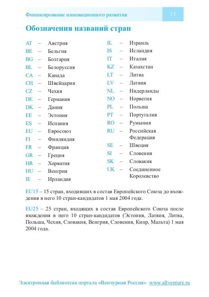 Финансирование инновационного развития                   13  Обозначения названий стран  AT   –   Австрия                I...