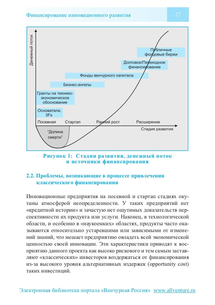 Финансирование инновационного развития                    27        Рисунок 1: Стадии развития, денежный поток            ...