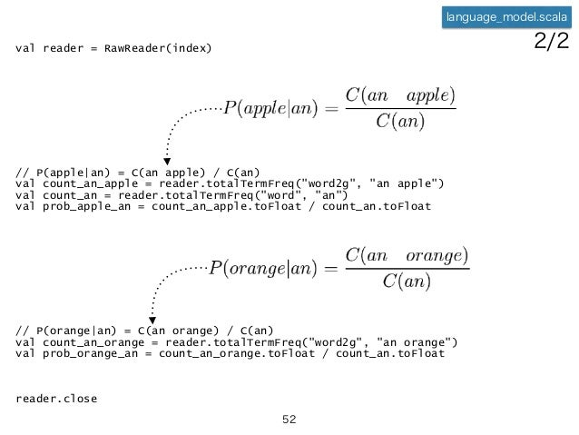 """val reader = RawReader(index) // P(apple an) = C(an apple) / C(an) val count_an_apple = reader.totalTermFreq(""""word2g"""", """"an..."""