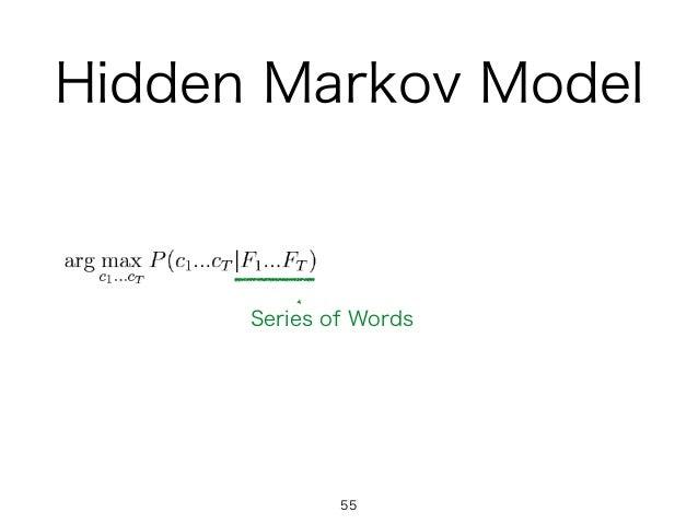 Hidden Markov Model 55 Series of Words
