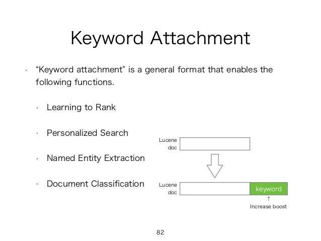 Keyword Attachment • Keyword attachment is a general format that enables the following functions. • Learning to Rank • Per...