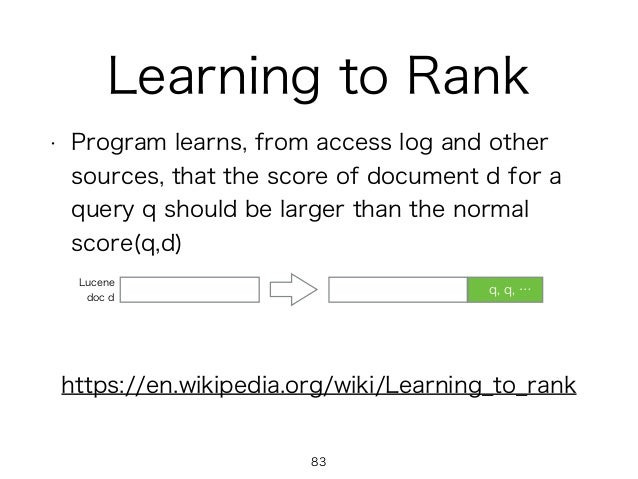 Learning to Rank • Program learns, from access log and other sources, that the score of document d for a query q should be...