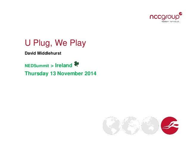 U Plug, We Play David Middlehurst NEDSummit > Ireland Thursday 13 November 2014