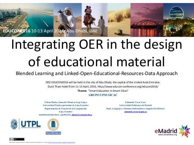 Integrating OER in the design of educational material Blended Learning and Linked-Open-Educational-Resources-Data Approach...