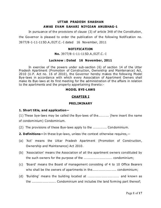 UTTAR PRADESH SHASHAN                  AWAS EVAM SAHARI NIYOJAN ANUBHAG-1       In pursuance of the provisions of clause (...