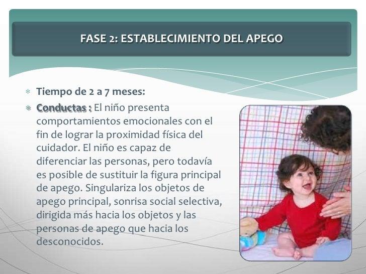 FASE 2: ESTABLECIMIENTO DEL APEGO<br />Tiempo de 2 a 7 meses:<br />Conductas : El niño presenta comportamientos emocionale...