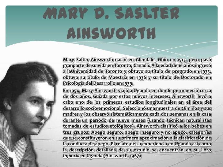 Mary SalterAinsworth nació en Glendale, Ohio en 1913, pero pasó granpartede su vida en Toronto, Canadá. A la edad de 16 añ...