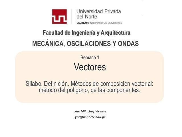 Facultad de Ingeniería y ArquitecturaSemana 1VectoresSílabo. Definición. Métodos de composición vectorial:método del políg...