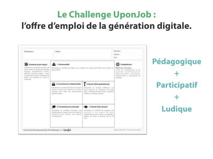 Le Challenge UponJob :l'offre d'emploi de la génération digitale.                                Pédagogique               ...