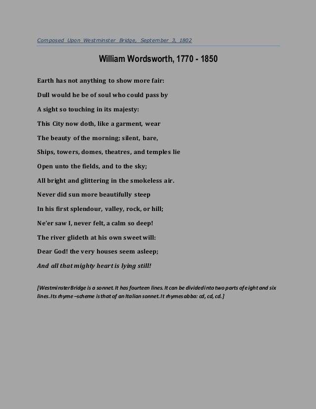 sonnet composed on westminster bridge