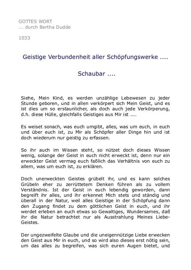 GOTTES WORT ... durch Bertha Dudde 1033 Geistige Verbundenheit aller Schöpfungswerke .... Schaubar .... Siehe, Mein Kind, ...