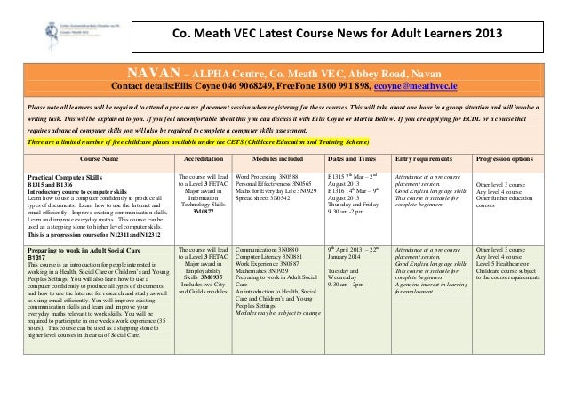 Co. Meath VEC Latest Course News for Adult Learners 2013                                        NAVAN – ALPHA Centre, Co. ...