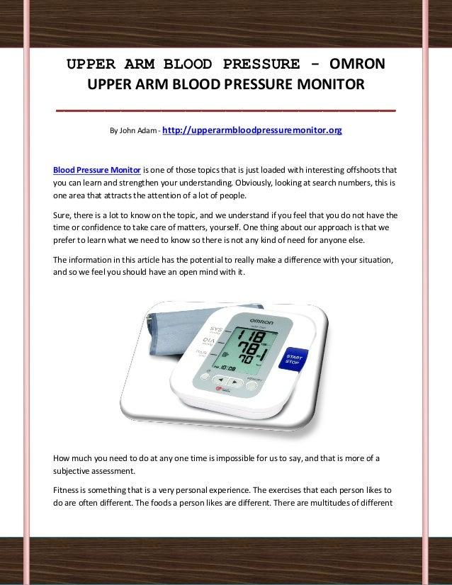 UPPER ARM BLOOD PRESSURE - OMRON    UPPER ARM BLOOD PRESSURE MONITOR__________________________________________            ...