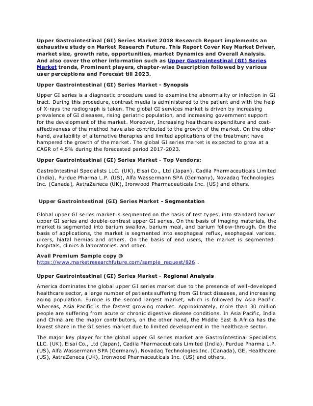 Upper Gastrointestinal (GI) Series Market 2018