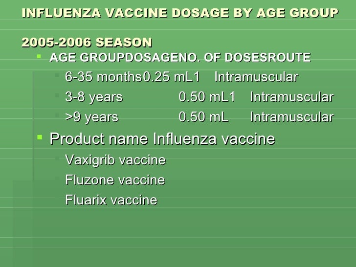 INFLUENZA VACCINE DOSAGE BY AGE GROUP  2005-2006 SEASON <ul><li>AGE GROUPDOSAGENO. OF DOSESROUTE </li></ul><ul><ul><li>6-3...