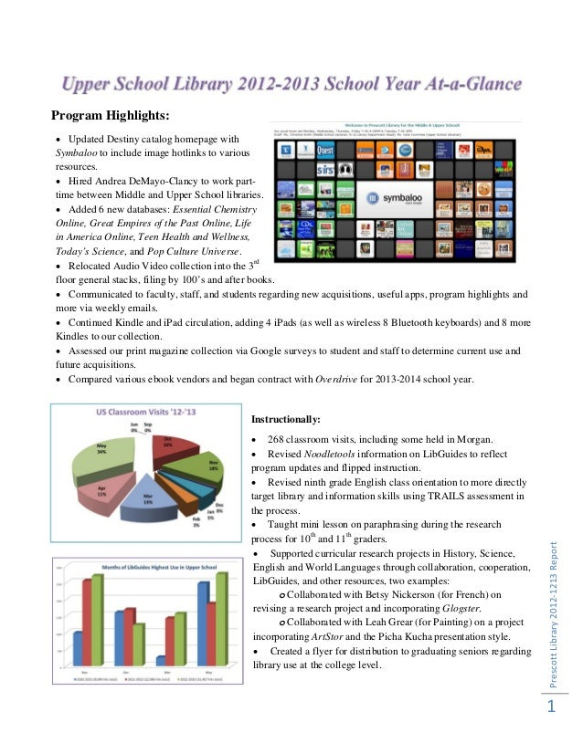 Prescott Library 2012‐1213 Report 1  Program Highlights: Updated Destiny catalog homepage withSymbaloo to include image ...