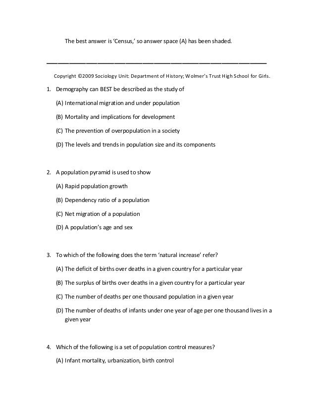 Uppers six sociology multiple choice 2009 – Sociology Worksheets