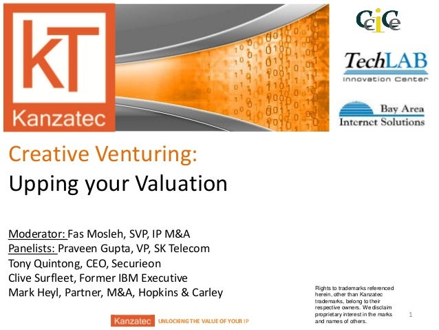 UNLOCKING THE VALUE OF YOUR IPUNLOCKING THE VALUE OF YOUR Creative Venturing: Upping your Valuation Moderator: Fas Mosleh,...