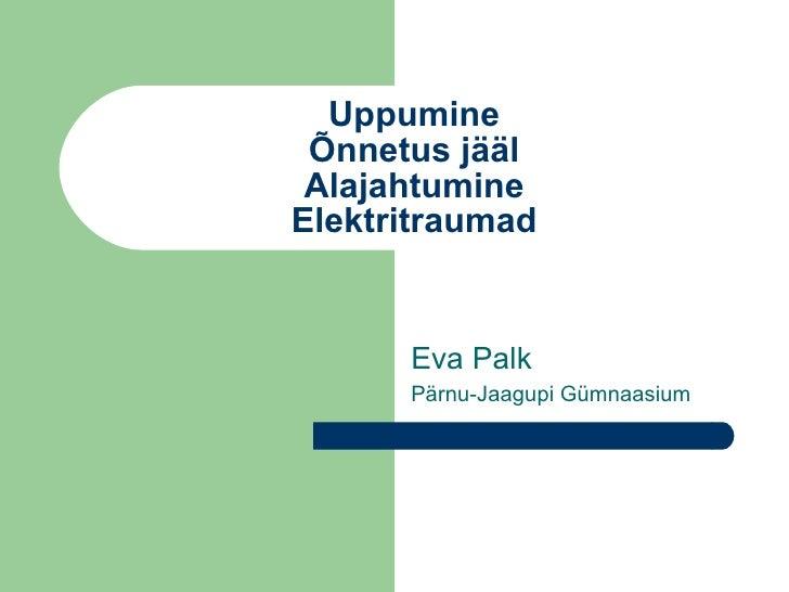 Uppumine Õnnetus jääl Alajahtumine Elektritraumad Eva Palk Pärnu-Jaagupi Gümnaasium