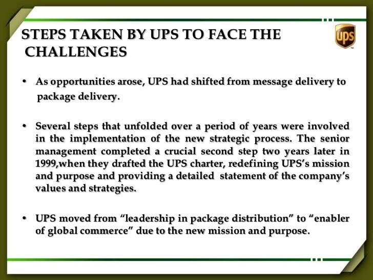 strategic planning at united parcel service United parcel service executive summary ups has announced that after more than 90 years as a private company, it was planning an initial public offering to become a.