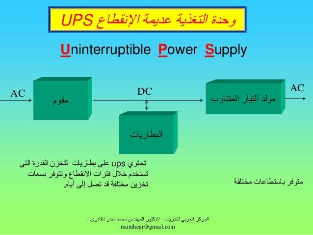 ٗدذح اىتغزٝخ ػذَٝخ اإلّقطبع UPS               Uninterruptible Power Supply                                        ...