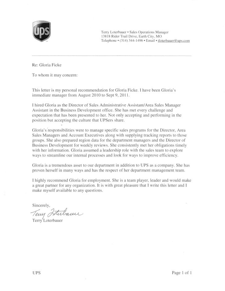 Superb Ups Letter Of Recommendation. Terry Loterbauer . Sales Operations Manager  13818 ...