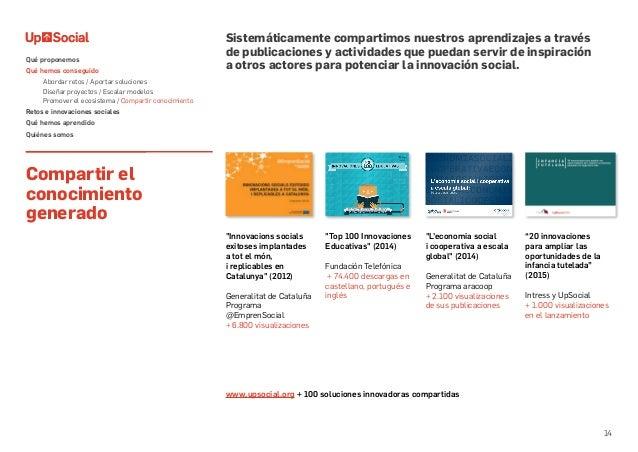 14 Compartir el conocimiento generado Sistemáticamente compartimos nuestros aprendizajes a través de publicaciones y activ...