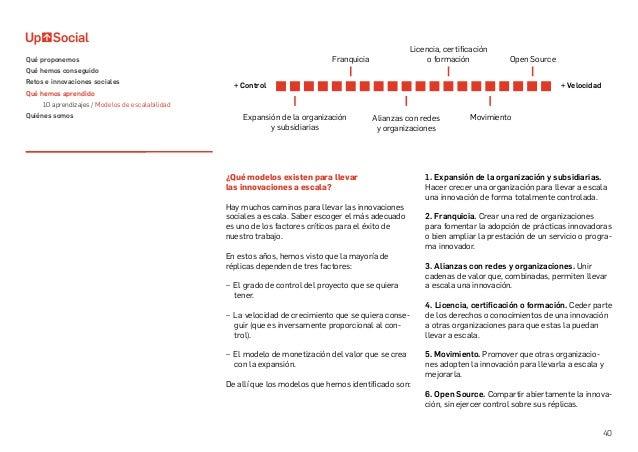 40 ¿Qué modelos existen para llevar las innovaciones a escala? Hay muchos caminos para llevar las innovaciones sociales a ...