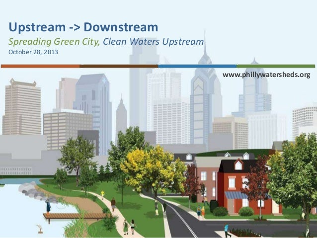 Upstream -> Downstream Spreading Green City, Clean Waters Upstream October 28, 2013  www.phillywatersheds.org