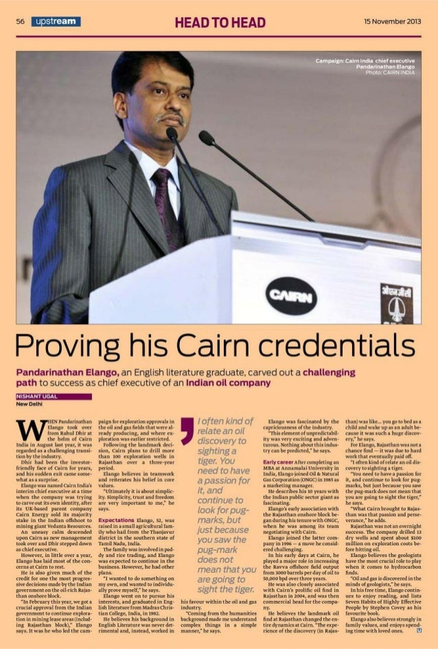Cairn India   News Article: Upstream -  Mr Elango P