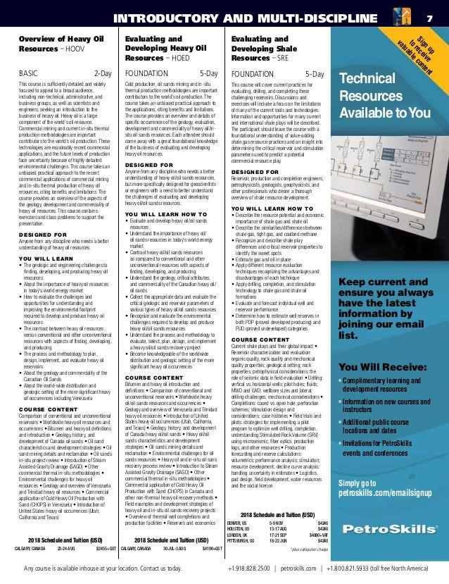 PetroSkills 2018 Upstream Training Catalog