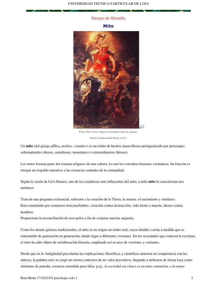 UNIVERSIDAD TECNICA PARTICULAR DE LOJA<br />Ensayo de filosofía<br />Mito<br />El dios Thor, de los vikingos, en la batall...