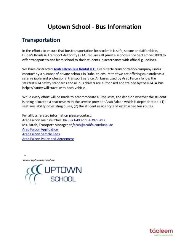 Uptown School Bus Information