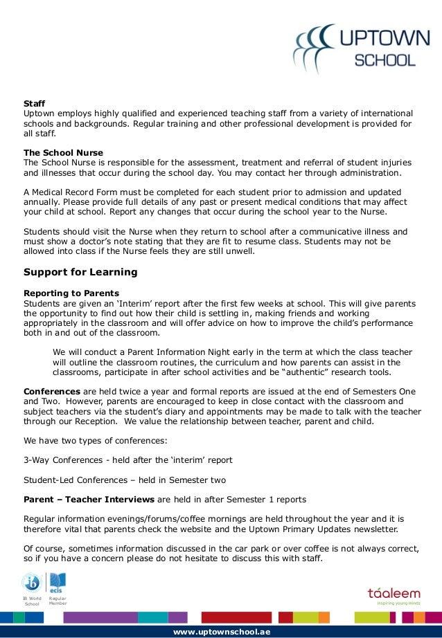 Collaborative Nursing Student Handbook : Uptown school parent handbook