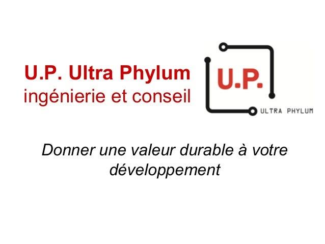 U.P. Ultra Phylum ingénierie et conseil Donner une valeur durable à votre développement
