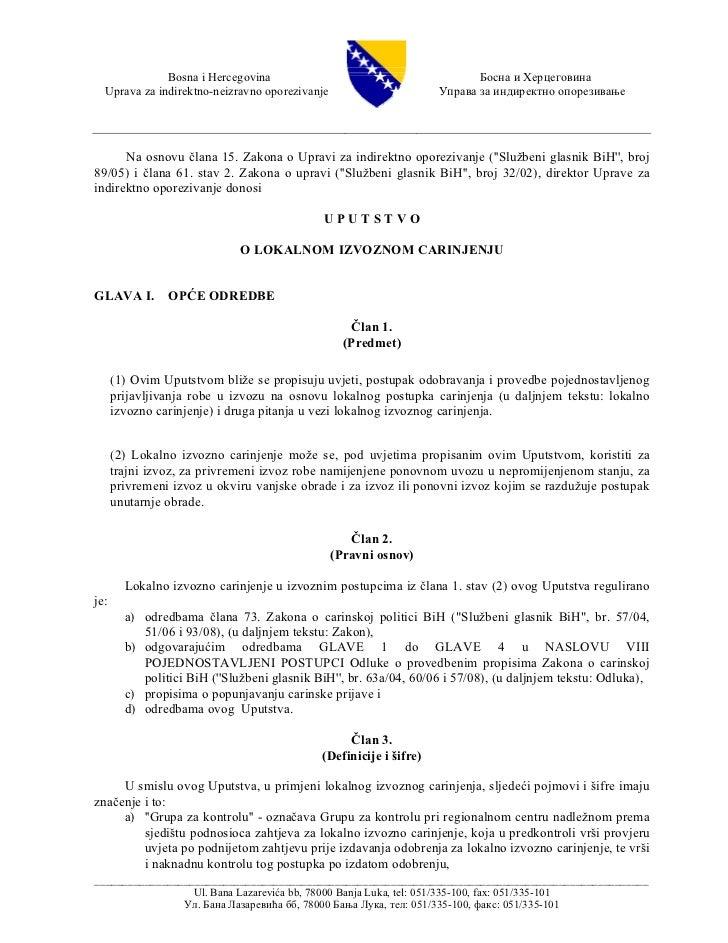Bosna i Hercegovina                                          Босна и Херцеговина  Uprava za indirektno-neizravno oporeziva...