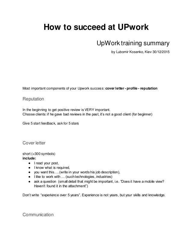 Upwork Cover Letter Template
