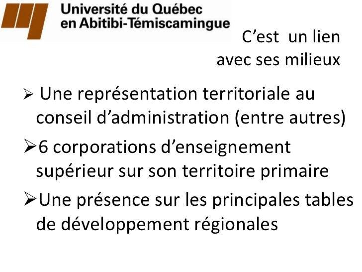 C'est un lien                       avec ses milieux Une représentation territoriale au conseil d'administration (entre a...