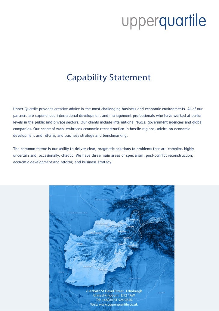Capability StatementUpper Quartile provides creative advice in the most challenging business and economic environments. Al...