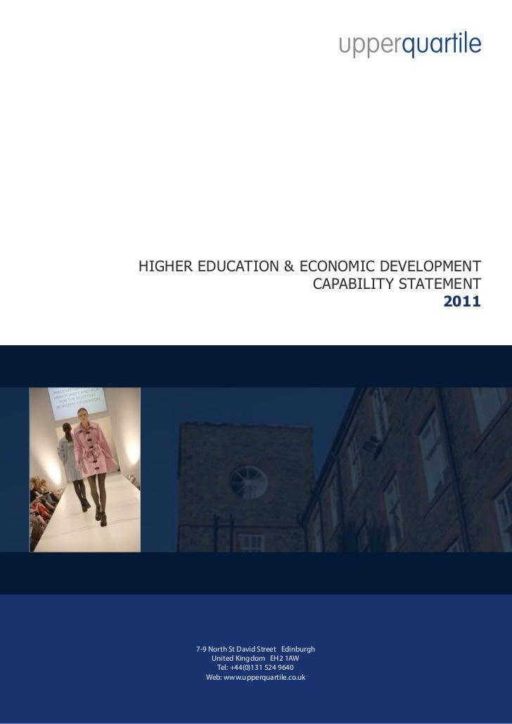 HIGHER EDUCATION & ECONOMIC DEVELOPMENT                     CAPABILITY STATEMENT                                     2011 ...
