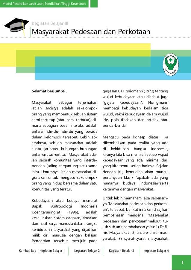 Modul Pendidikan Jarak Jauh, Pendidikan Tinggi Kesehatan  1  Kegiatan Belajar III  Masyarakat Pedesaan dan Perkotaan  Sela...