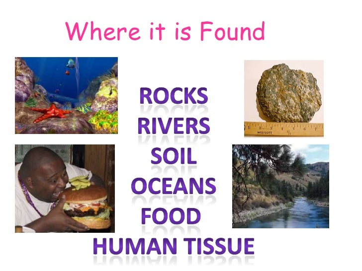 Where it is Found<br />Rocks<br />Rivers<br />Soil<br />Oceans<br />Food <br />Human tissue<br />