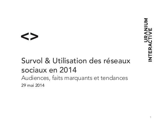 1 Survol & Utilisation des réseaux sociaux en 2014 Audiences, faits marquants et tendances 29 mai 2014