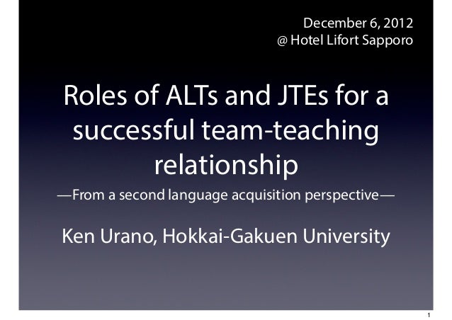 December 6, 2012                               @ Hotel Lifort SapporoRoles of ALTs and JTEs for a successful team-teaching...