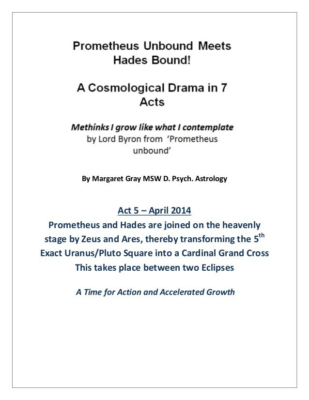 By Margaret Gray MSW D. Psych. Astrology Act 5 – April 2014 Prometheus and Hades are joined on the heavenly stage by Zeus ...