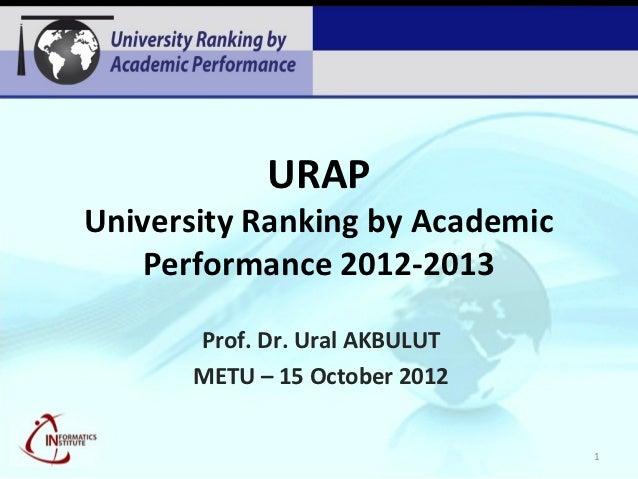 URAPUniversity Ranking by Academic   Performance 2012-2013      Prof. Dr. Ural AKBULUT      METU – 15 October 2012        ...