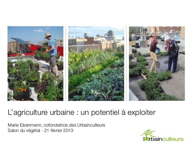 L'agriculture urbaine : un potentiel à exploiterMarie Eisenmann, cofondatrice des UrbainculteursSalon du végétal - 21 févr...