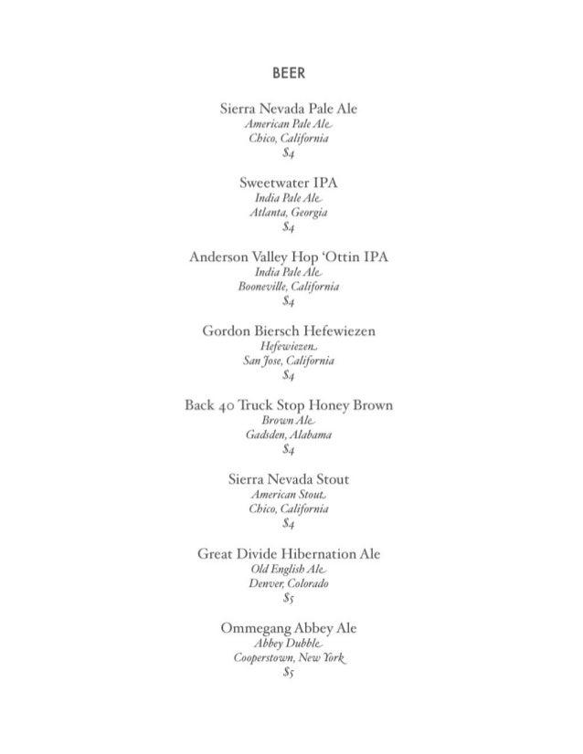 Urban Standard - 2010 beer/wine menu